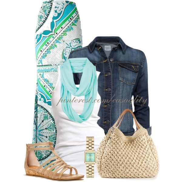 Emilio Maxi Skirt Spring Outfit, created by casuality on Polyvore
