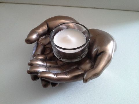 Cupped Hands. Bronze. Candle Holder. Tealight Candle Holder