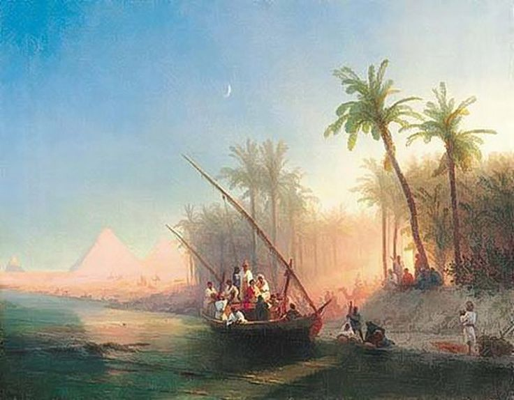 Ivan Aivazovsky -  Boat On The Nile With Pyramids Of Gizeh 1872