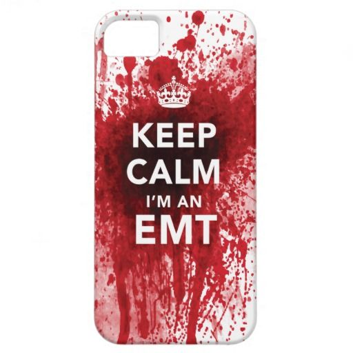 Keep Calm Im an EMT Blood Spattered iPhone 5 Case. Click through to purchase this case for yourself or as a cool gift idea for any EMT! #EMT #paramedic #hospital