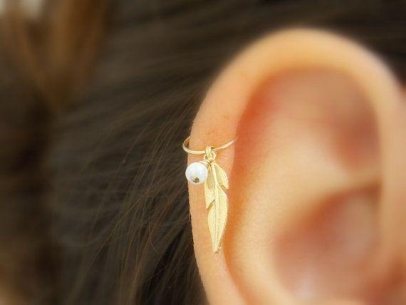 Boucle d'oreille des piercing du cartilage tribal plume, plume argent piercing du cartilage, helix, bijoux, piercing piercing opale