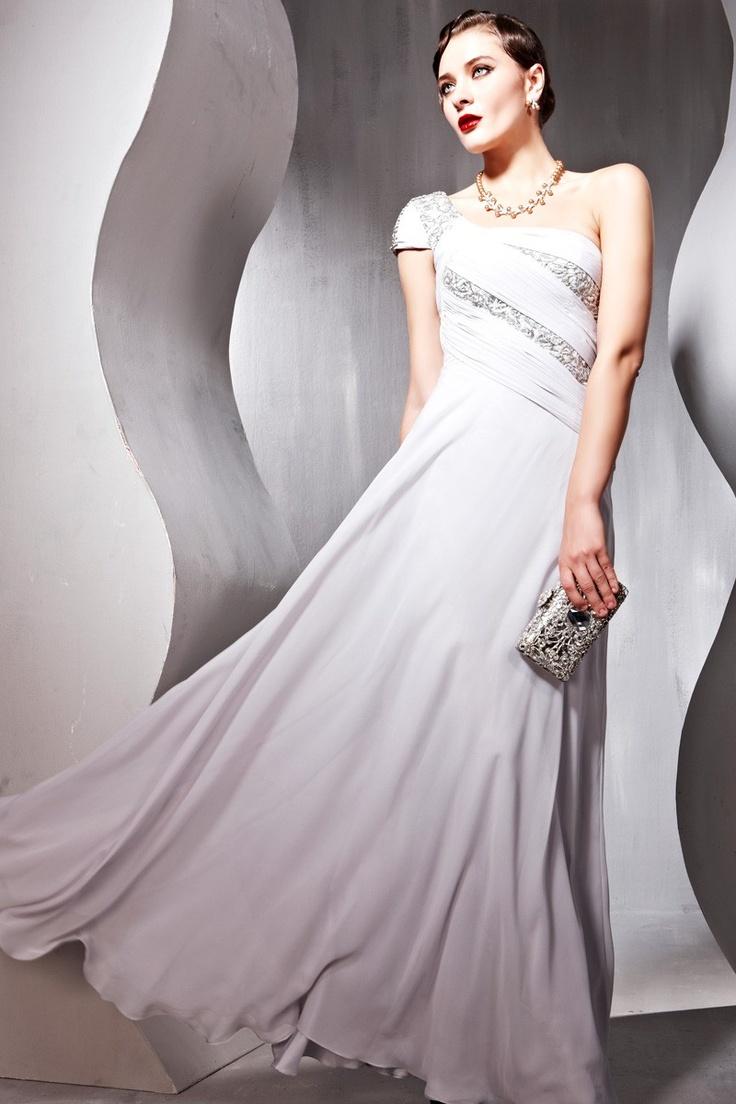 Grey One-shoulder Chiffion Elegant Ball Dress