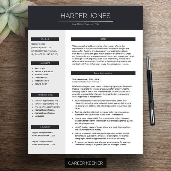 Modern Resume Template Resume + Cover Letter for MS Word Includes Writing Tips Fully Customizable Instant Download Printable A4 | Harper from Career Keener