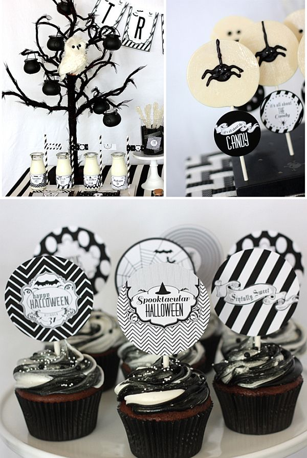 chic halloween party ideas in contemporary black and white - Black And White Halloween Party