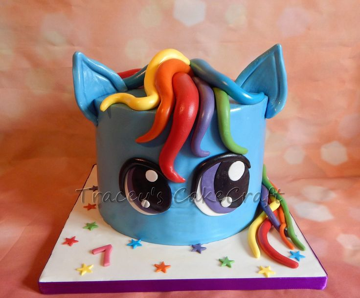 Rainbow Dash My Little Pony cake with rainbow layers