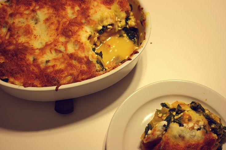 Græskar lasagne med spinat