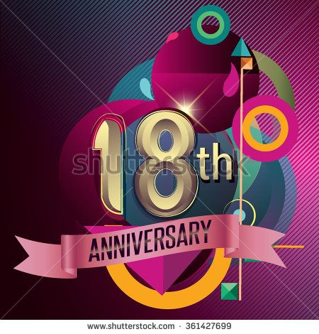 18th Anniversary, Party poster, party invitation - background geometric glowing element. Vector Illustration - stock vector