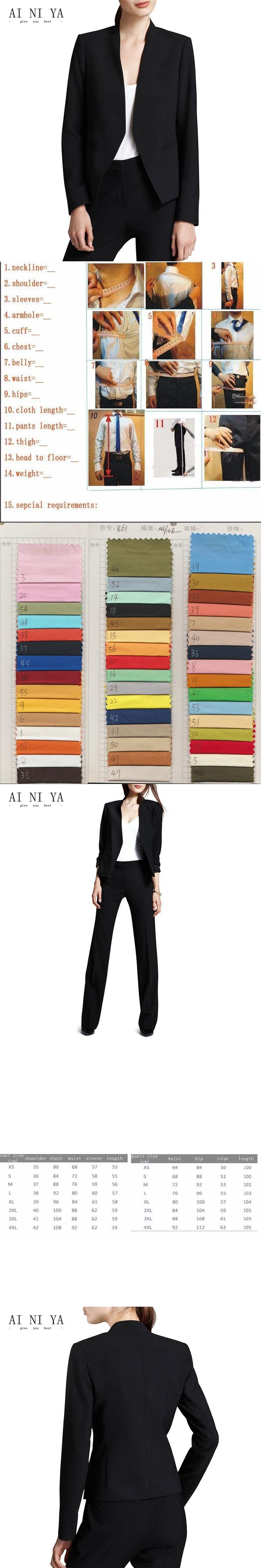 Jacket+Pants Black Pant Suits For Women Autumn None Slim Female Business Office Uniform 2 Pieces Suit Ladies Straight Trousers
