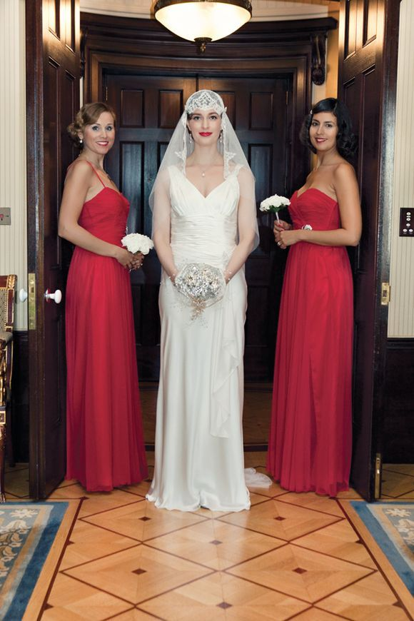 An Ugo Zaldi Wedding Dress for a 1920s and 1930s Inspired Wedding At The Lanesborough Hotel  red bridesmaids