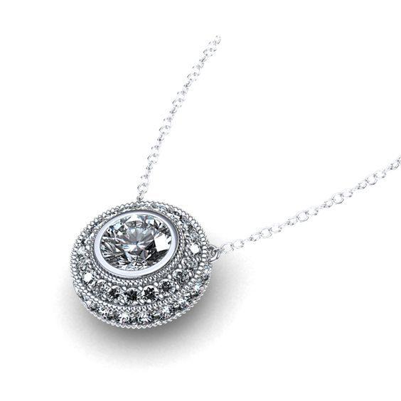 ~ Halo Necklace | ctw Bezel Set Diamond Halo Necklace in Palladium ~ linkedgem.com