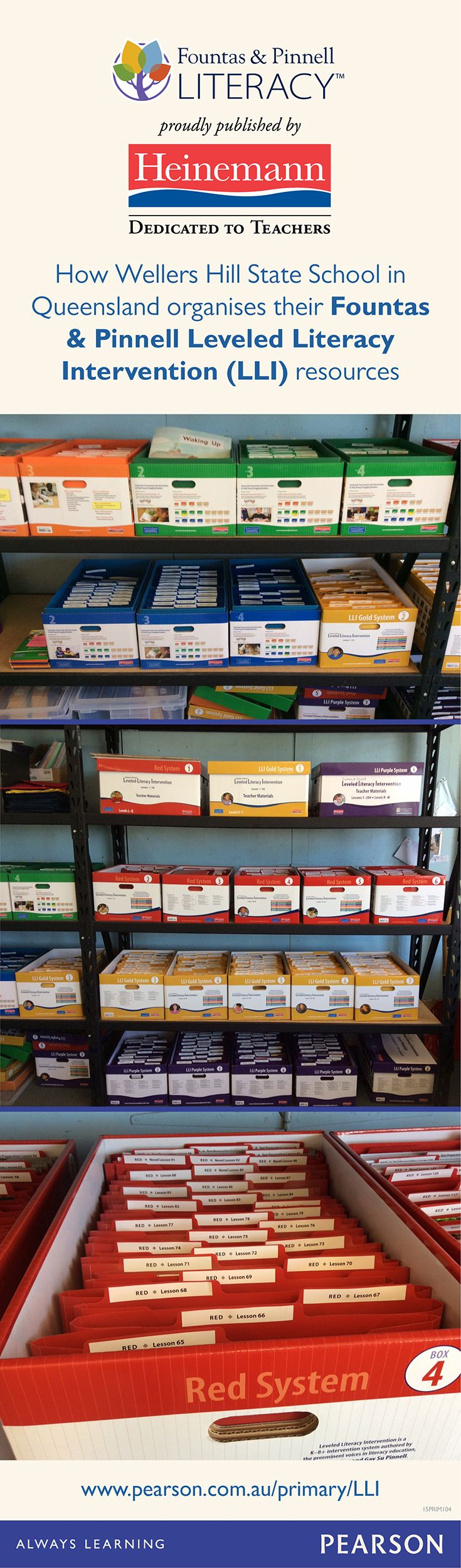 How Wellers Hill State School in Queensland organises their Fountas & Pinnell Leveled Literacy Intervention (LLI) resources