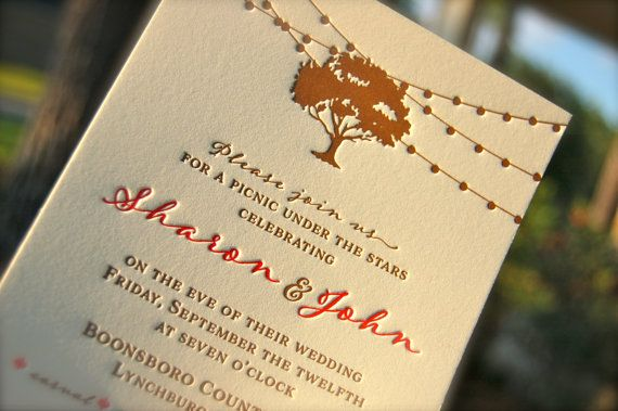 Letterpress Wedding Invitation, Letterpressed Rehearsal Dinner Invitations, Oak Tree and String Lights, Rustic Wedding Invitation