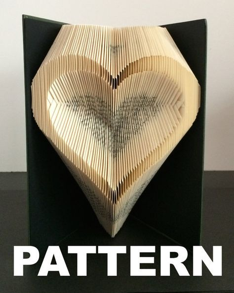 This listing is for a book folding pattern which will enable you to create your own finished book. This pattern: Heart outline – 147 folds (294 pages) - 21cm book (minimum) Your pattern will automatically download as a pdf on receipt of payment. You will also receive comprehensive instructions with easy to follow pictures. These will take you through every step of how to fold a book. The instructions will show you how to calculate the number of pages you need in your book in order to complet...