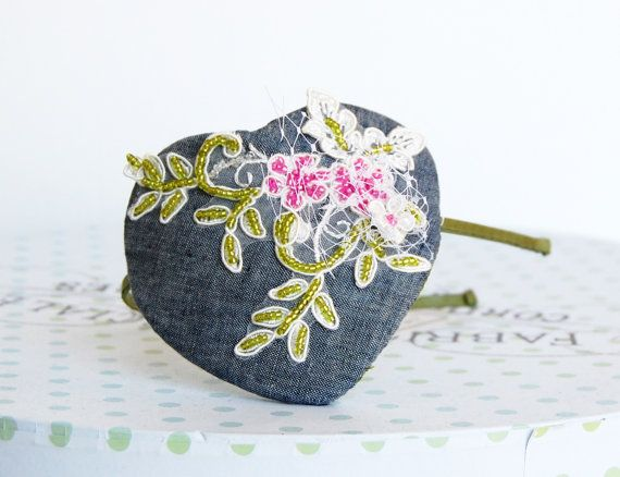 Mini blue-gray linen Fascinator hat with green & by WhereIsTheCat