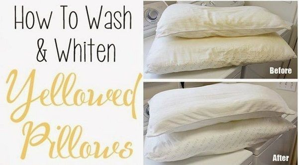 Easy Way To Wash and Whiten Yellowed Pillows http://www.goodshomedesign.com/easy-way-to-wash-and-whiten-yellowed-pillows/