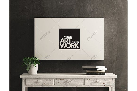 Canvas Mockup White Wood Distressed by positvtplus on @creativemarket