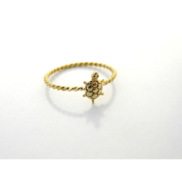 thin ring GOLD Filled Turtle Ring, stacking rings delicate ring gift... (514.920 VND) ❤ liked on Polyvore featuring jewelry, rings, 14k ring, 14k jewelry, turtle ring, thin stackable rings and stackable rings