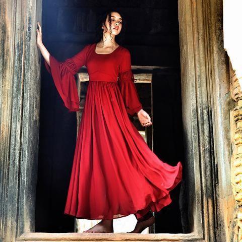 Johnature Vintage Flare Sleeve Empire Waist Bohemian Dress…
