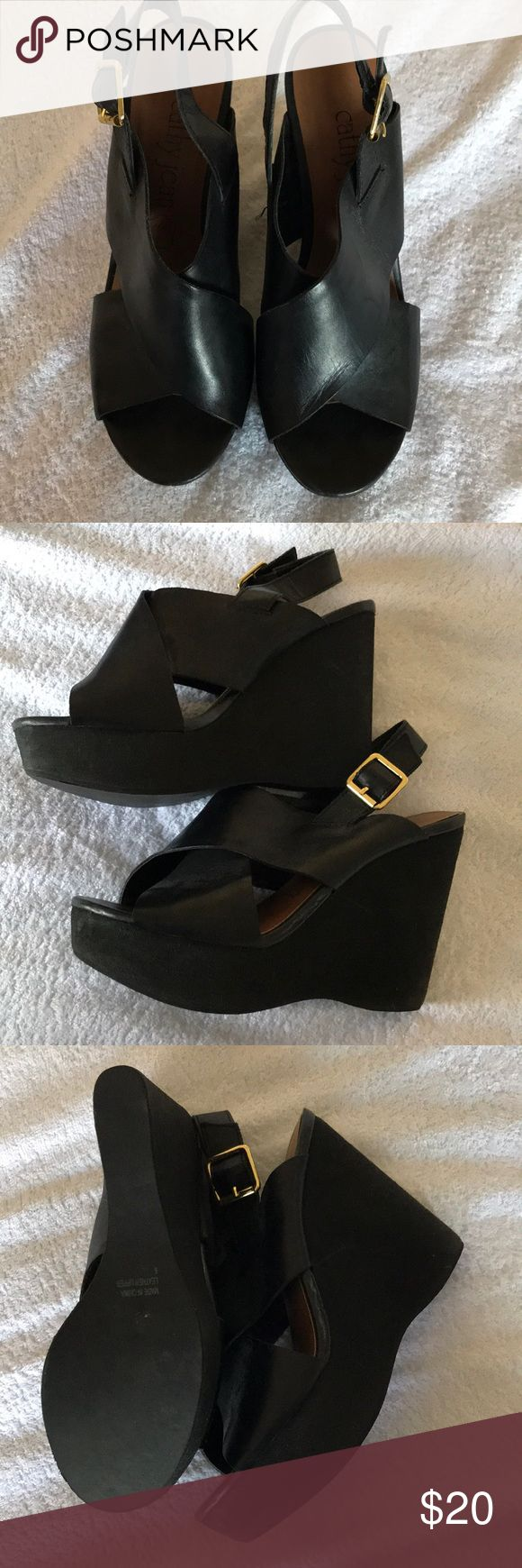 Black wedge Sandals Great condition. Only wore like 3 times. Very comfortable Cathy Jean Shoes Sandals