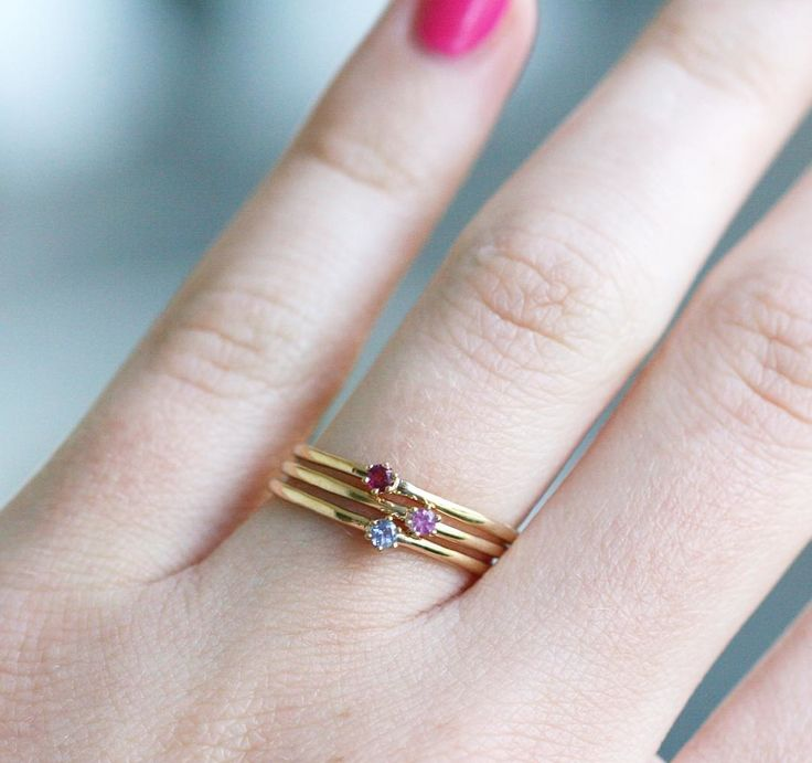 "Katie Diamond ""Goldie"" rings in ruby, pink sapphire & tanzanite @ Barbed Wire"