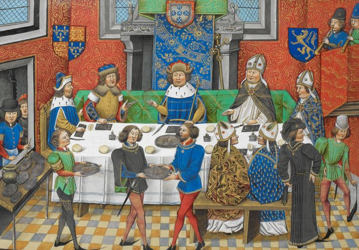 John of Gaunt,Duke of Lancaster dining with the King of Portugal. Chronique d'Angleterre (Volume III) (late 15th C),f.244v-BL Royal MS 14 E IV.
