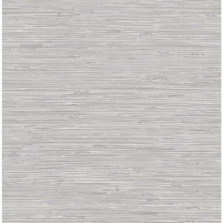 NuWallpaper Tibetan Grasscloth Silver Silver Wallpaper