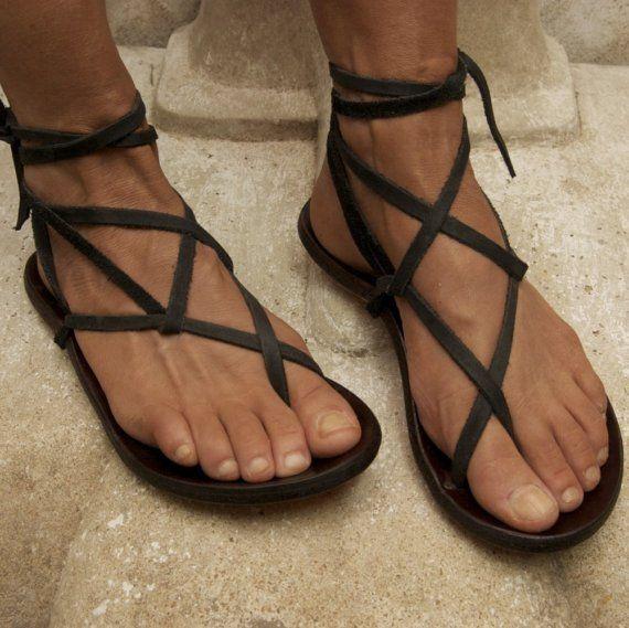 Handcrafted Black Gladiator Sandal by zuzsi on Etsy