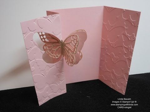 card making video tutorial: Flip Butterfly Card ... absolutey delightful! ...  and easier that it looks ... measure carefully!!