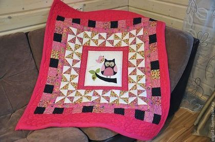 """детское одеяло """"Совушка"""" - лоскутное шитье,для детей,аппликация из ткани"""