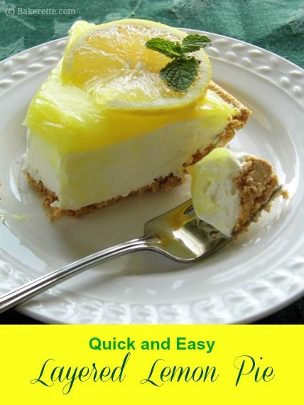 Quick and Easy Layered Lemon Pie with Graham Cracker Crust | Bakerette.com