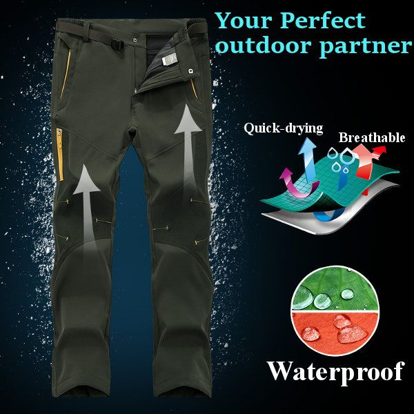 Plus Size S-5XL Mens Outdoor Winter Thick Fleece Pants Climbing Warm Sport Pants at Banggood