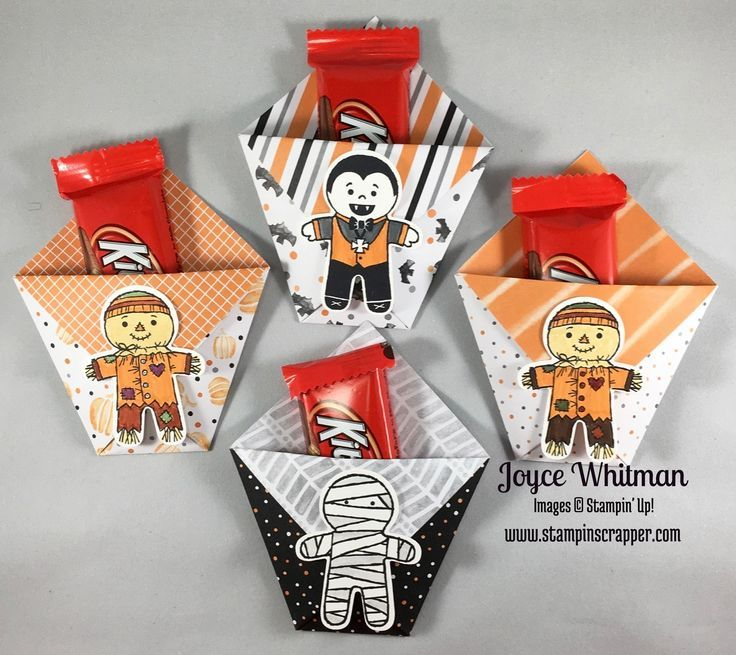 cute little treat bags using only paper no adhesives used cookie cutter halloween and halloween night speciality dsp from stampin up - Stampin Up Halloween Ideas