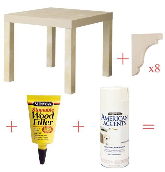 """IKEA Lack tisch mit Borden geklebt ergibt einen schönen """"Schrank"""" More Ikea hacks... This time a side table... I sure wish we had an Ikea here in Little Rock *sigh*"""