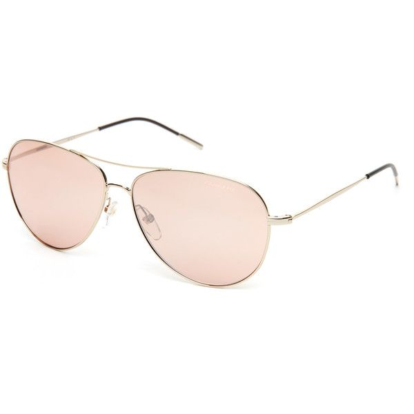 Carrera 105/S Gold-Tone Aviator Sunglasses ($50) ❤ liked on Polyvore featuring accessories, eyewear, sunglasses, white, aviator style sunglasses, white lens sunglasses, mirror aviator sunglasses, double bridge sunglasses and mirrored aviator sunglasses