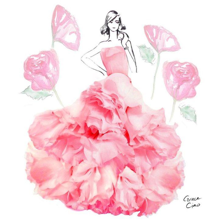 Открытка платье из цветов, картинках