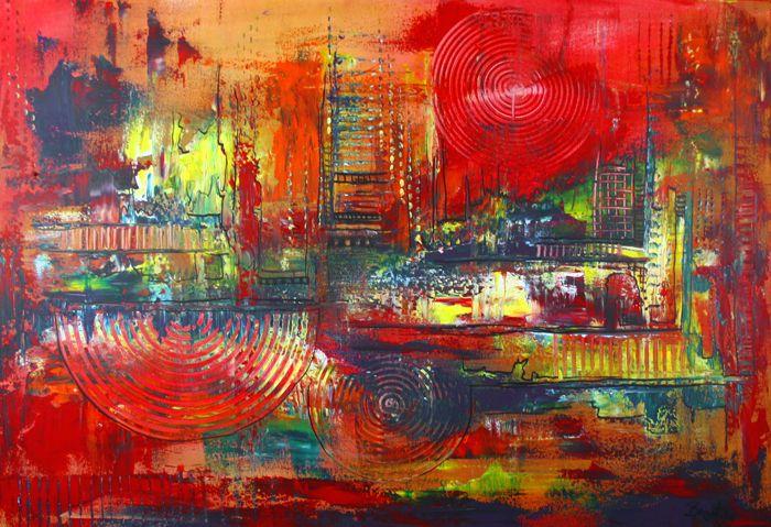38 kunst unikat abstrakt downunder blau gelb rot orange abstrakte malerei wandbilder leinwan leinwandbilder acrylbilder gemälde kaufen acryl