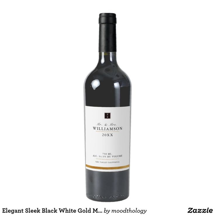 Elegant Sleek Black White Gold Monogram Wine Label