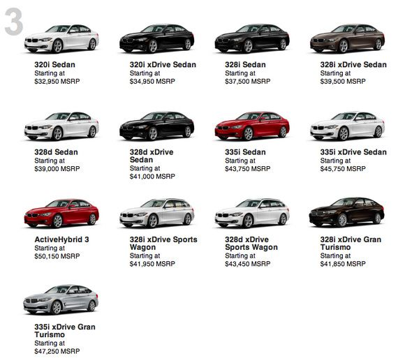Вся линейка BMW 3 серии / БМВ 3 серии