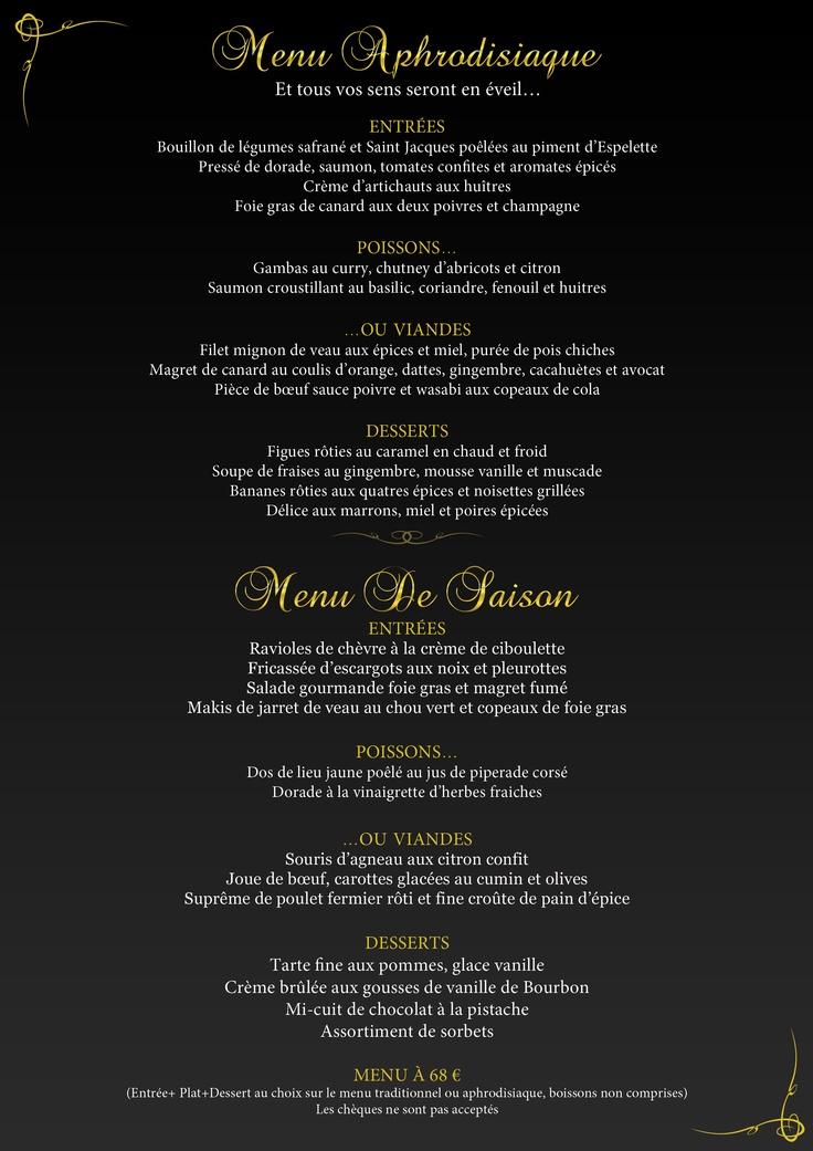 Votre menu de ce soir...Aphrodisiaque ou plutôt De Saison?