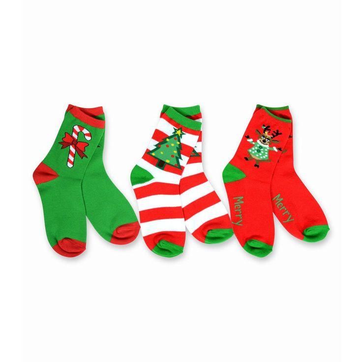 TeeHee Kid's Reindeer Tree and Candy Cane -colored 3-pack Crew Socks