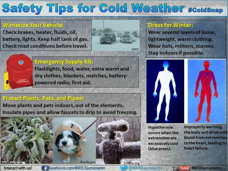 """Safety Tips for Cold Weather """"Good to know"""" Pinterest"""