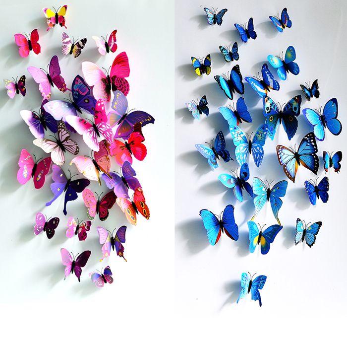 Envío libre 3D en tres dimensiones pegatinas pared de la mariposa imanes de nevera fotografía de la boda de los apoyos 12 traje de la decoración del hogar