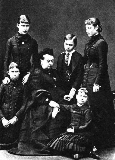 Queen Victoria and her grandchildren through her daughter Alice, the Grand Duchess of Hesse: Victoria (maternal grandmother of The Duke of Edinburgh), Elisabeth, Irene, Ernest Louis, and Alexandra (last Empress of Russia).