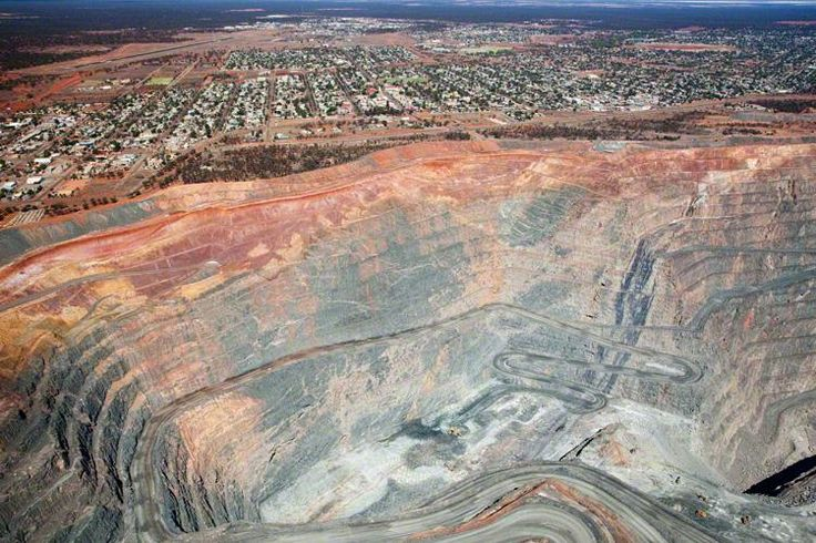 Aerial shot of Super Pit in Kalgoorlie, Western Australia