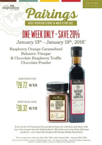 Here is this weeks pairing specials.  Go to www.fionamgriffin.yourinspirationathome.com.au    to the