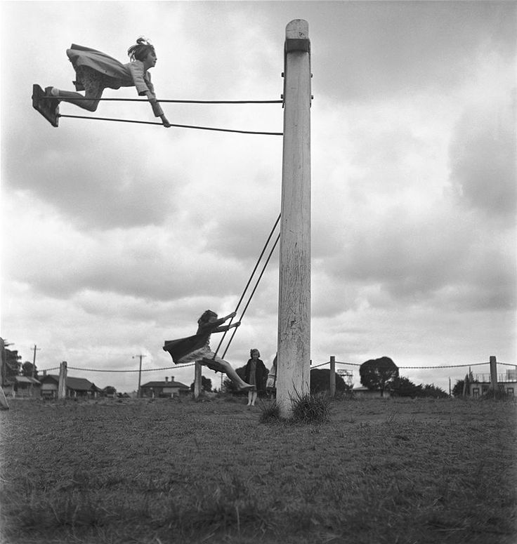"There is always one kid in the bunch who likes to live dangerously....I was not one of them!! ;-) ""Girls on swing"", Max Dupain.(1911 - 1992)"