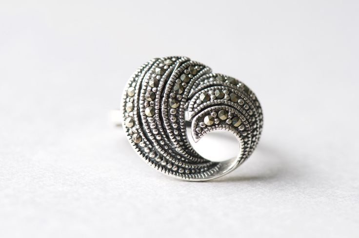 925 Sterling Silver Statement Ring, Marcasite Ring, Cocktail Ring, Free Shipping, Gift For Her by roseandchoc on Etsy https://www.etsy.com/listing/471515785/925-sterling-silver-statement-ring