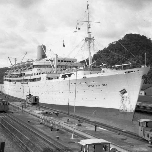 Pacific Steam Navigation.'s final Ship. Reina Del Mar passing through the Panama Canal.