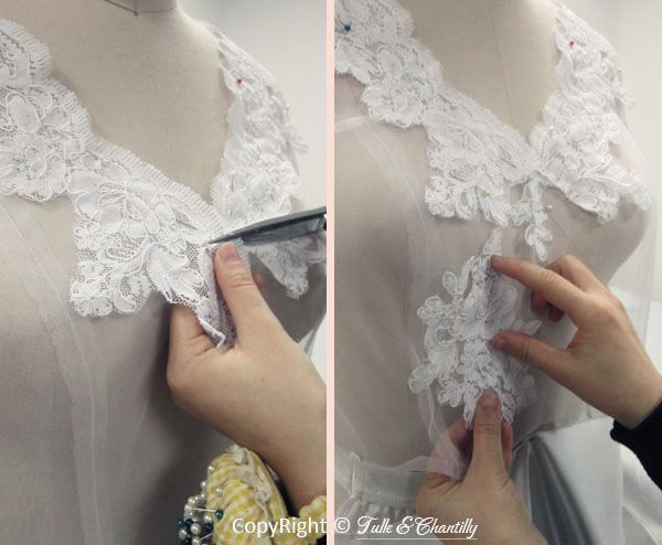 Handmade Wedding Dress Lace Applique Details