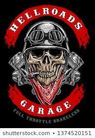 Skull Biker mit Kolben und rotem Kopftuch, Motorradclub Logo Vektor – Art – #A …   – Schönes Motorrad